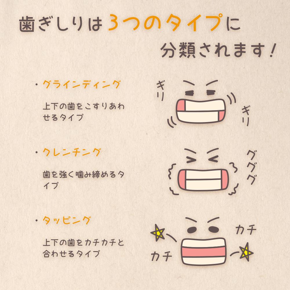 歯ぎしりは3つのタイプに分類